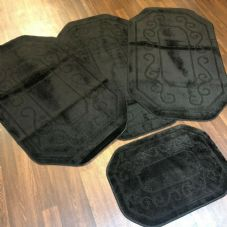 ROMANY GYPSY WASHABLES X 75X125CM + DOORMAT FULL SET OF 4PC BLACK MATS/RUGS